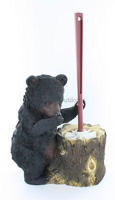 Black Bear Toilet Bowl Brush and Holder Rustic Lodge Cabin Decor | eBay