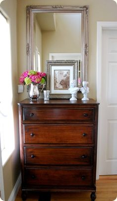 refinished dresser Mirror, Decor, Idea, Old Dressers, Master Bedroom, Bedrooms, Furniture, Bedroom Designs, Entryway