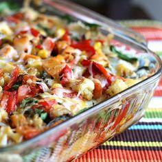 dinner, roast veget, black beans, veget enchilada, plate, enchilada casserole, roasted vegetables, roasted veggies, meal