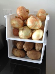 My first Pinterest post!    Here is a space efficient idea to help store your non-refrigerator-needed produce.  I picked up these bins at the Dollar Tree.
