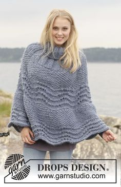 "Free pattern online! 149-5 DROPS poncho with wavy pattern and seed st in ""Eskimo"" #knit"