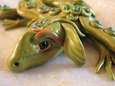 polymer clay dragon, mademerrily, fimo dragon, model dragon