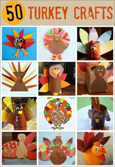 50 Turkey Thanksgiving Crafts - so many ways to make a turkey. Get ready to celebrate Thanksgiving with these fun kids crafts. #ThanksgivingCrafts #TurkeyCrafts