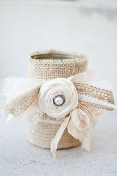 Make this Burlap Candle Holder out of a soup can. It would also be cute as a vase to put flowers in for a centrepiece (even for a weddding!)