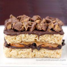 Stuffed Rice Krispies Treats.  Rice Krispies Treats with peanut butter, pretzels, peanut butter cups and chocolate?  WOW!