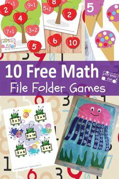 10 Free Math File Folder Games  #math #printables