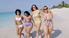 Plus-size models Robyn Lawley, Jada Sezer, Shareefa J, and plus-size fashion blogger Gabi Gregg hoped to fight society's obsession with stick-thin bodies in a calendar for the fashion website. | Plus-Size Models Awesomely Recreate Sports Illustrated's Swimsuit Cover