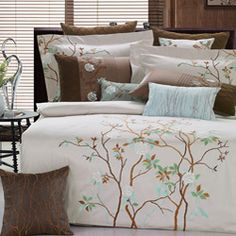 @Overstock - Set includes: One duvet cover, two shams   Thread count: 180  Fabric detail: Wovenhttp://www.overstock.com/Bedding-Bath/Mayfield-Embroidered-King-size-3-piece-Duvet-Cover-Set/6006486/product.html?CID=214117 $44.99
