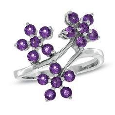 Amethyst+Flower+Ring+in+Sterling+Silver