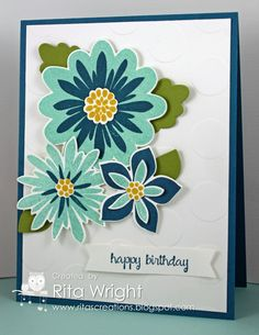 Rita's card: Flower Patch  its matching Flower Fair framelits, And Many More, and Large Polka Dot embossing folder. All supplies from Stampin' Up!