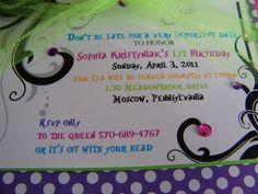 Mad Hatter Polka Dot Tea Party Invitations...Set of 10 invitations. $40.00, via Etsy.