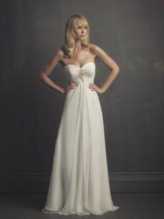 White Chiffon Vintage Wedding Dress with Sweetheart MBD3105