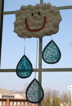 Raining cloud craft. What you'll need:  Tissue paper (various shades of blue)  Contact paper, Raindrop template  Scissors, Glue, Cotton balls, Cons-truction paper, thin cardboard (could be a cereal box), Googly eyes, String or yarn, Tape, Hole punch