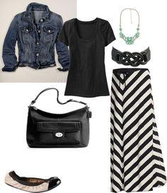 denim jacket + chevron striped maxi skirt + pop of seafoam green from necklace