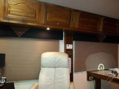 Motorhome - New living room pic.  Handmade window boxes with Harley symbol and new shades
