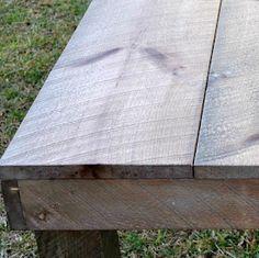 Very inexpensive idea using vinegar, steel wool, and tea bags. Turn new wood to barn wood