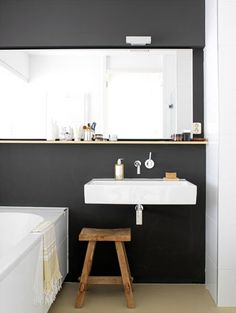 Simple, small black & white bathroom.