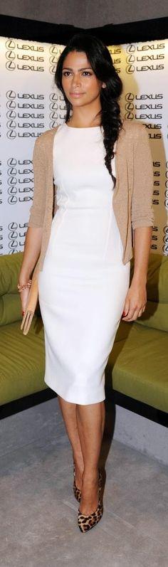 White Dress, Neutral Cardigan | Leopard Print Heels.
