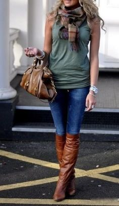fall fashions, autumn, fall looks, fall outfits, fall boots, brown boots, fall styles, tank, perfect transit