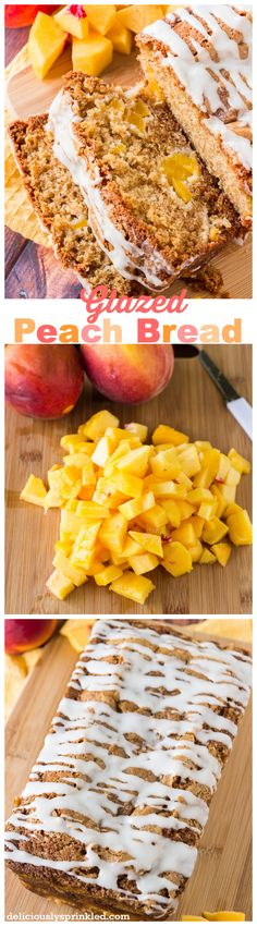 Glaze Peach Bread, an easy quick bread recipe! #breakfast #recipe #desserts