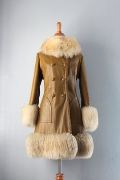 1960s Coat / Vintage 60s Leather Princess Coat / Shearling Collar Coat. $88.00, via Etsy.