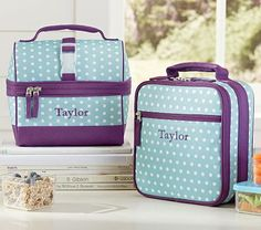 Mackenzie Turquoise Dot Lunch Bags #PotteryBarnKids