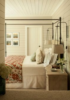 farm house bedrooms, beauti bedroom, guest bedrooms, lamp, bedroom master, cottage rooms, light, wood walls, farm houses