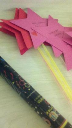 Star Wands from dollar store glow sticks.
