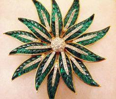 Alfred Philippe Trifari Green Poinsettia Brooch