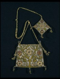Purse        Place of origin:        England, Great Britain (embroidered)      Date:        1600-1625 (made)      Artist/Maker:        Unknown (production)      Materials and Techniques:        Linen canvas, silk and silver thread      Museum number:        316      Gallery location:        In Storage