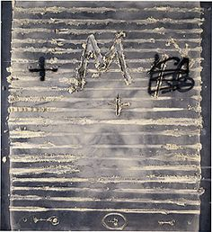 """Antonio Tapies matter] [""""Striped matter""""] 2000 Spain Painting, mixed media on plywood Primary Insc: signed verso u.l., black felt-tipped pen, """"tapies"""", not dated 220.0 h x 200.0 w cm Purchased 2001"""