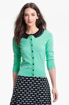 kate spade new york 'kati' embellished cardigan available at #Nordstrom skirt, kate spade cardigan, york kati, embellish cardigan, outfit, blous, mint cardigan, black, embellished cardigan