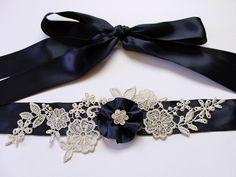 Custom Color (Navy Blue) Lace Flower Bridal Sash Belt w/ Silver Lace  Flower Rhinestone, Wedding Sash, Crystal Sash, Wedding Dress Sash. $70.00, via Etsy.