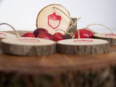 acorn stamped salvaged wood gift tags.  set of 10 - $5