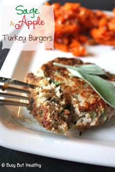 Sage and Apple Turkey Burgers - 5 ingredients, quick dinner, delicious fall flavors. Gluten-free. #Paleo #Thanksgiving