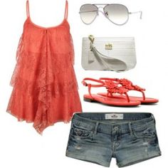 Coral lace summer outfit, adorable!