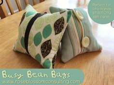 Busy Bean Bags are perfect for toddlers and preschoolers who are learning self care and developing fine motor skills.   Stay tuned to roseblossomconsulting.com for a pattern and tutorial for these lovely lavender scented bean bags!