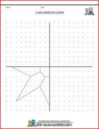 Flower Line Symmetry Worksheet, a basic geometry worksheet with 2 mirror lines