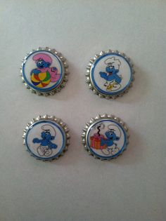 The Smurfs Bottle Cap Magnets  Set of 4 by WhimsyWoodcrafts, $4.50