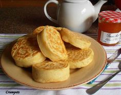 "Old Fashioned Home-Made English Crumpets for Tea-Time. Photo by Hanka.............recipe calls for ""HEAVY FLOUR"".....hmmmm, i wonder what that means"