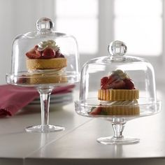 Set of Two (2) Mini Domed Dessert Stands, Clear Glass Cake Stands