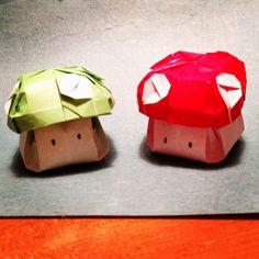 Mario Bros. 1UP Mushrooms by Joseph Wu Origami, via Flickr