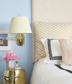 Bedroom Bliss. Blue and white with gold. Interior Design: Sarah Sarna