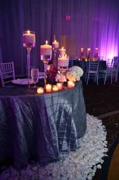 centerpieces: easy to do / rhinestone strips and floating candle holders