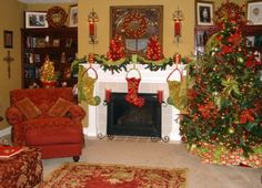 red concept decoration on 27 creative ideas for fireplace decorations in the Christmas Day holiday ideas, traditional christmas, tree, christmas fireplace, decorating ideas, christmas decorations, red christma, mantel decorations, christmas mantels