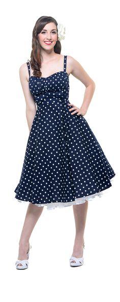 1940's Style STOP STARING Navy & White Polka Dot Ursula Swing Dress