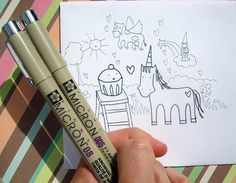Tips for drawing in pen and ink (featuring unicorn illustrations!)