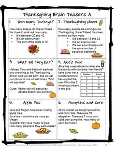 Thanksgiving Brain Teasers - from Thanksgiving Math Games, Puzzles and Brain Teasers $