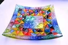 Fused glass, mosaic, Rainbow, Glass Dish