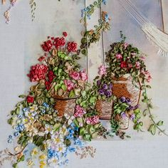 details of an amazing silk ribbon embroidery ~ click through to see the entire piece on a beautiful blog ...